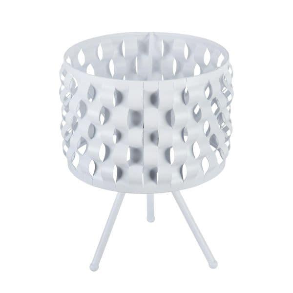 biała lampa stołowa z falami na abażuru
