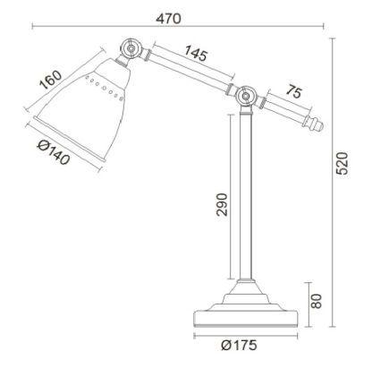lampa stołowa zwymiarowana