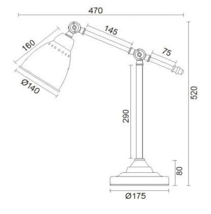 wymiary lampy stołowej