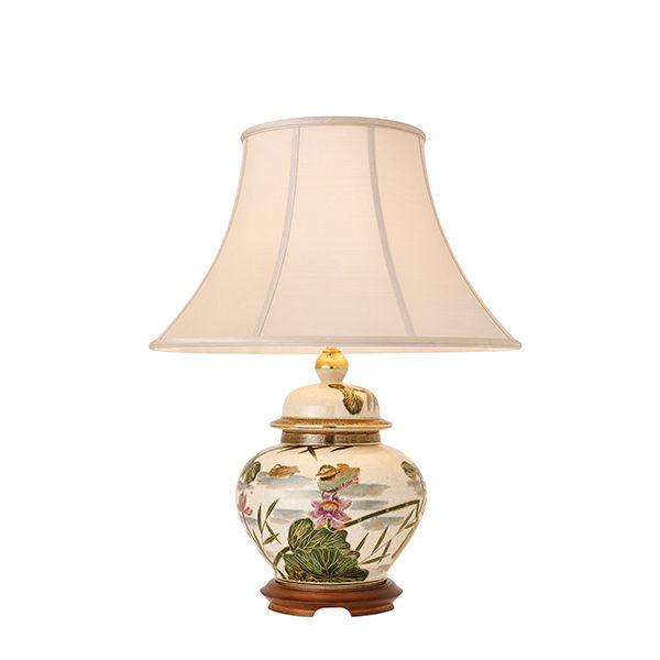 lampa stołowa w stylu japońskim z ręcznie malowanym wzorem