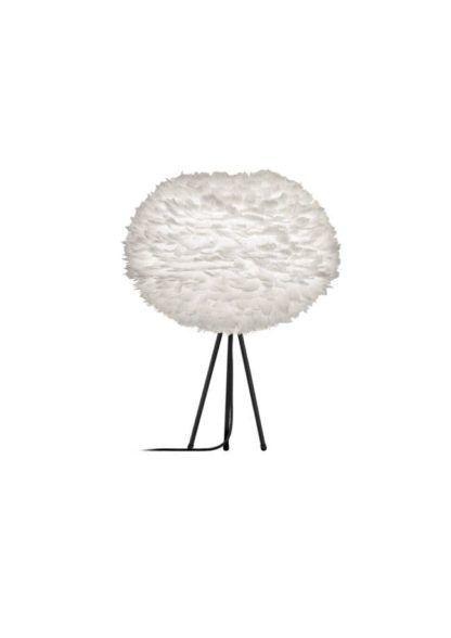 czarny tripod stołowy z białym, dużym kloszem z piór