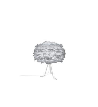 nieduża lampa stołowa na białym trójnogu, klosz kula z szarych piór