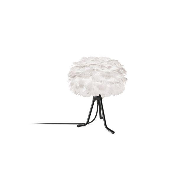 biała lampa stołowa, trójnóg, klosz kula