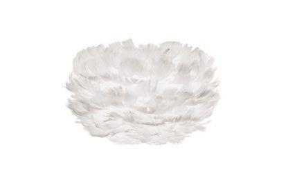 biała lampa z naturalnych piór na papierowym rdzeniu