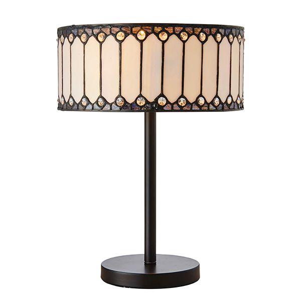 mała lampa stołowa z szklanym okrągłym kloszem w kolorze białym