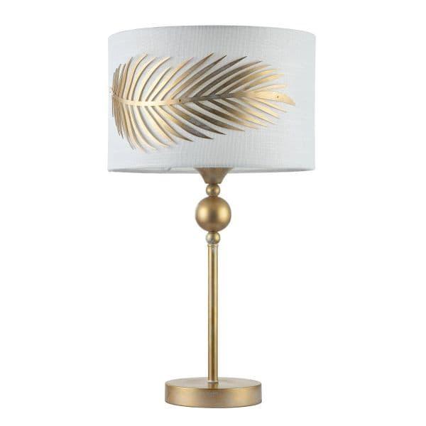 Lampa stołowa Farn - Maytoni - biała, złota ze złotym liściem