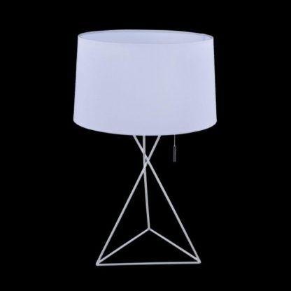 lampa stołowa biała z oryginalną podstawą i koralikowym włącznikiem