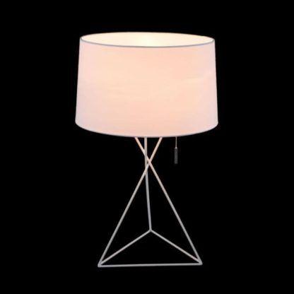 lampa stołowa w kolorze białym ze zintegrowanym koralikowym włącznikiem