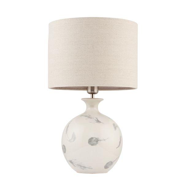 ceramiczna lampa stołowa w kolorze szarym