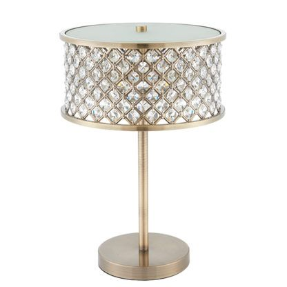 złota lampa stołowa w stylu glamour z kryształkami