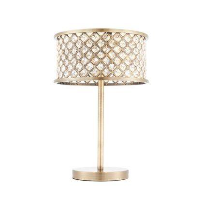 elegancka lampa stołowa w kolorze antycznego mosiądzu z kryształami