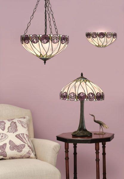 aranżacja - lampa stołowa szklana z różami