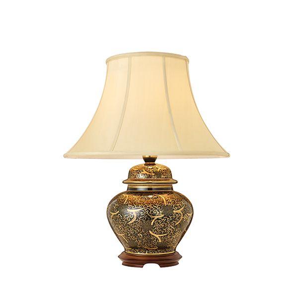 Lampa stołowa Japanese Scroll - Kutani - Interiors - czarna, złota