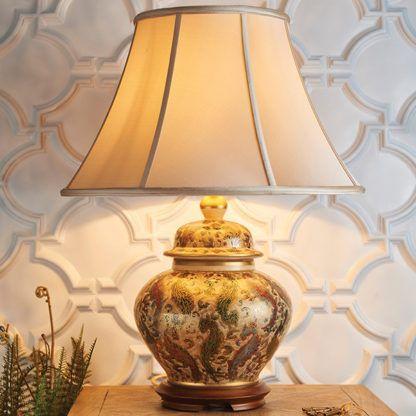 ręcznie robiona klasyczna lampa stołowa z ceramiczną podstawą