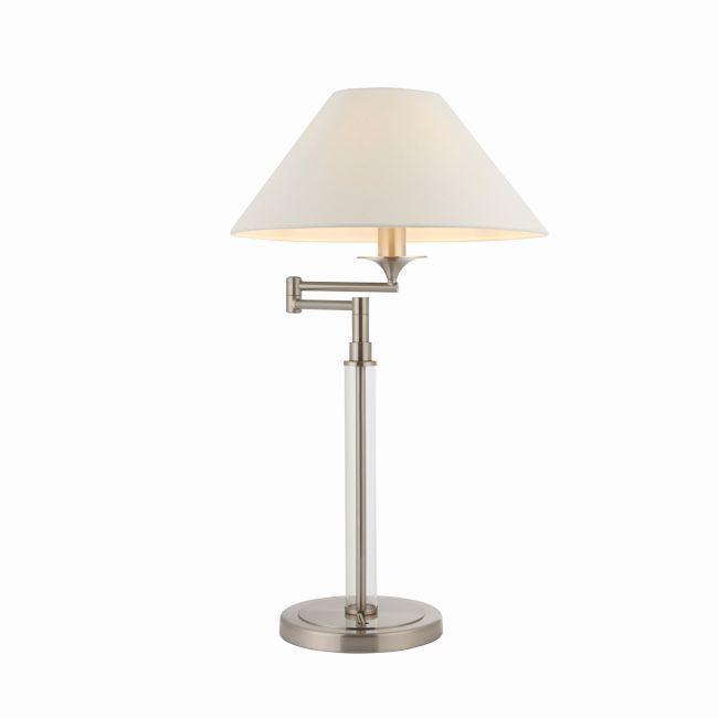 srebrna lampa stołowa z ruchomym kloszem