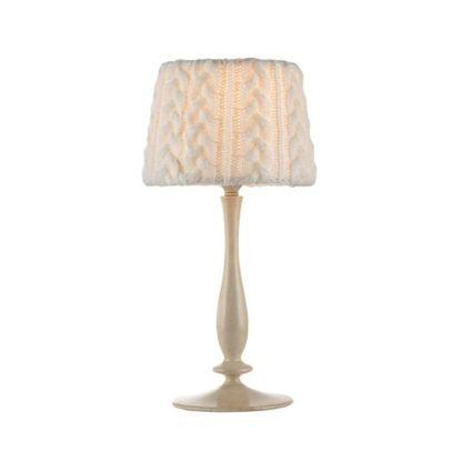 wełniana lampa stołowa z abażurem