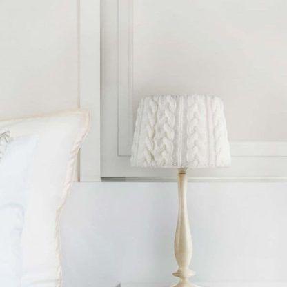 lampa stołowa drewno + szyty abażur z wełny