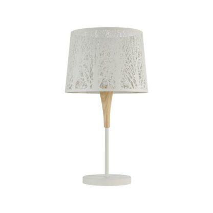 Lampa stołowa drewniana Lantern - Maytoni - biała