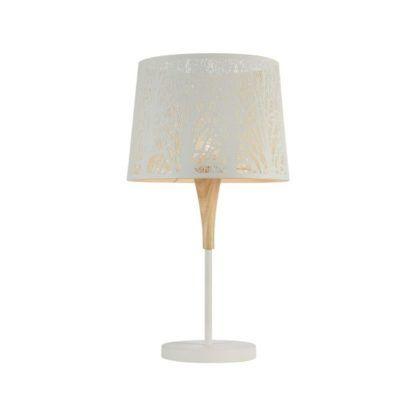 biała lampa stołowa z abażurem i drewnianą podstawą