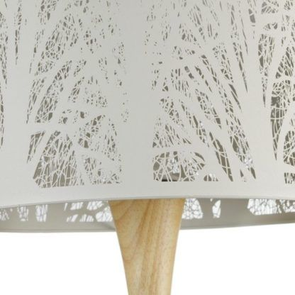 lampa stołowa biała z drewnianą nogą