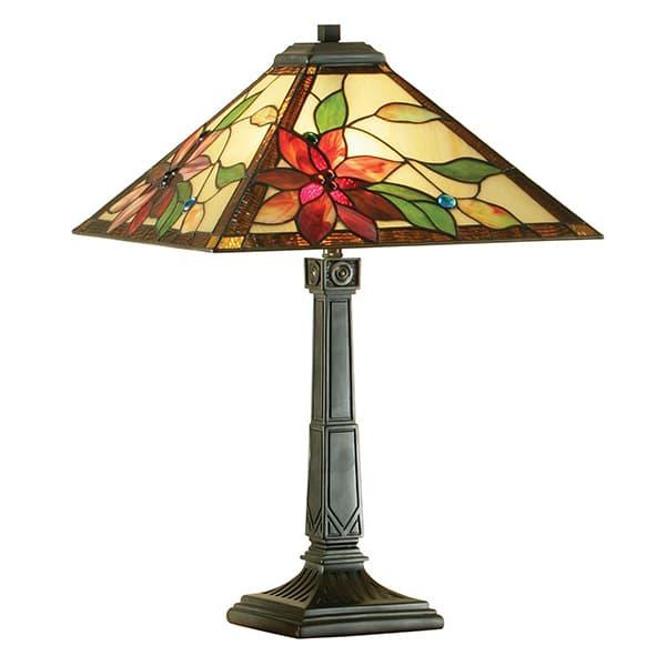 średnia lampa stołowa z kwiecistym wzorem