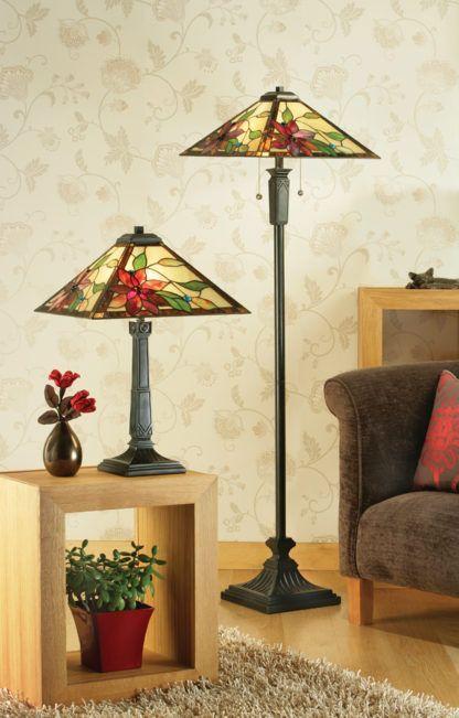 nieduża lampa stołowa z metalu i kolorowego szkła