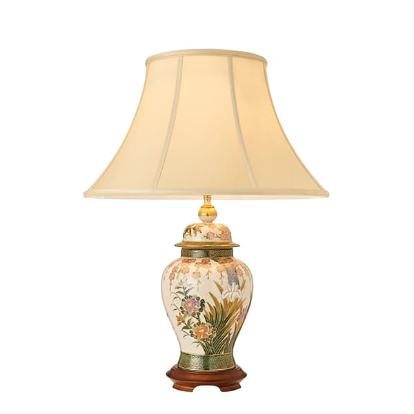 klasyczna lampa stołowa z kwiecistym wzorem