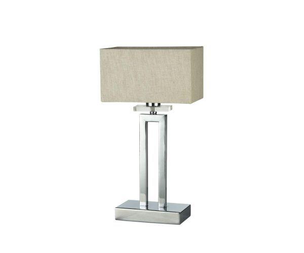 lampa stołowa chromowana z prostokątnym abażurem