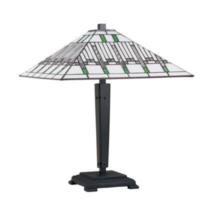ciemna lampa stołowa z jasnym szklanym kloszem