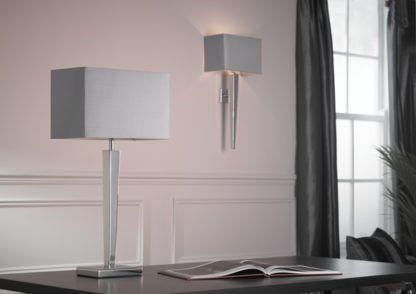 Lampa stołowa Moreto - Endon Lighting - chrom, szary abażur