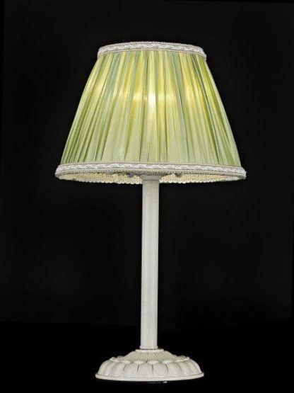 oliwkowa lampa stołowa z abażurem
