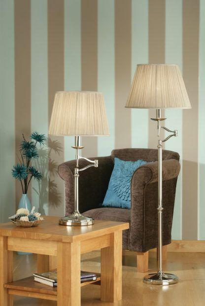 klasyczna lampa podłogowa z ruchomym ramieniem