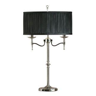 Lampa stołowa Stanford - Interiors - czarny abażur - srebrna
