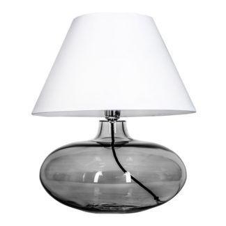 Lampa stołowa Stockholm Black - 4concepts - biała, szklana - szara podstawa