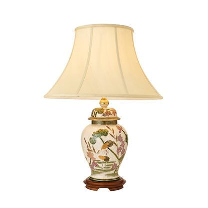 Lampa stołowa Storks - Kutani - Interiors - ceramika, drewniana podstawa