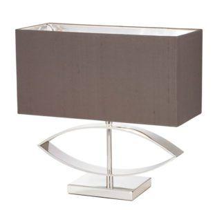 Lampa stołowa Tramini - Endon Lighting - srebrna, tkanina