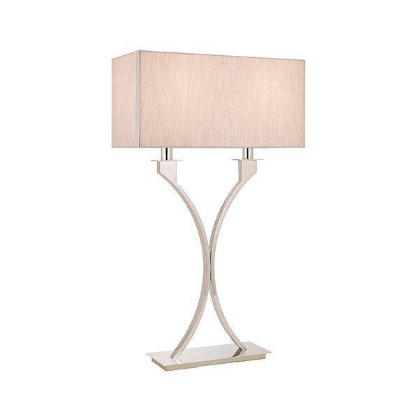 srebrna lampa stołowa z beżowym prostokątnym abażurem