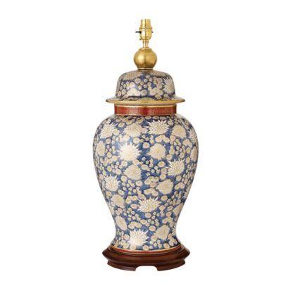 klasyczna lampa stołowa w kolorze niebieskim i bialym
