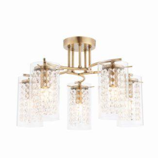 Lampa sufitowa Alda - Endon Lighting - 5 żarówek - złota, szklana