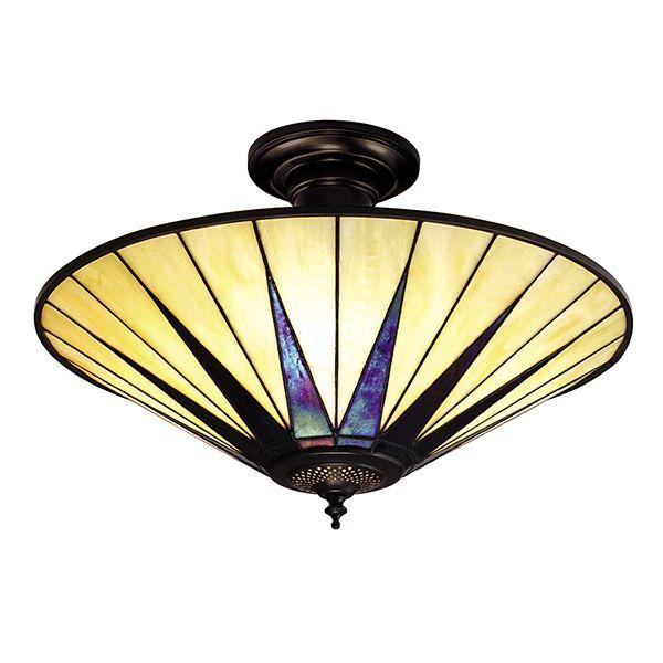beżowa lampa sufitowa z odwróconym szklanym kloszem