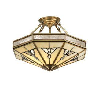 Lampa sufitowa Gladstone - Interiors - szkło witrażowe