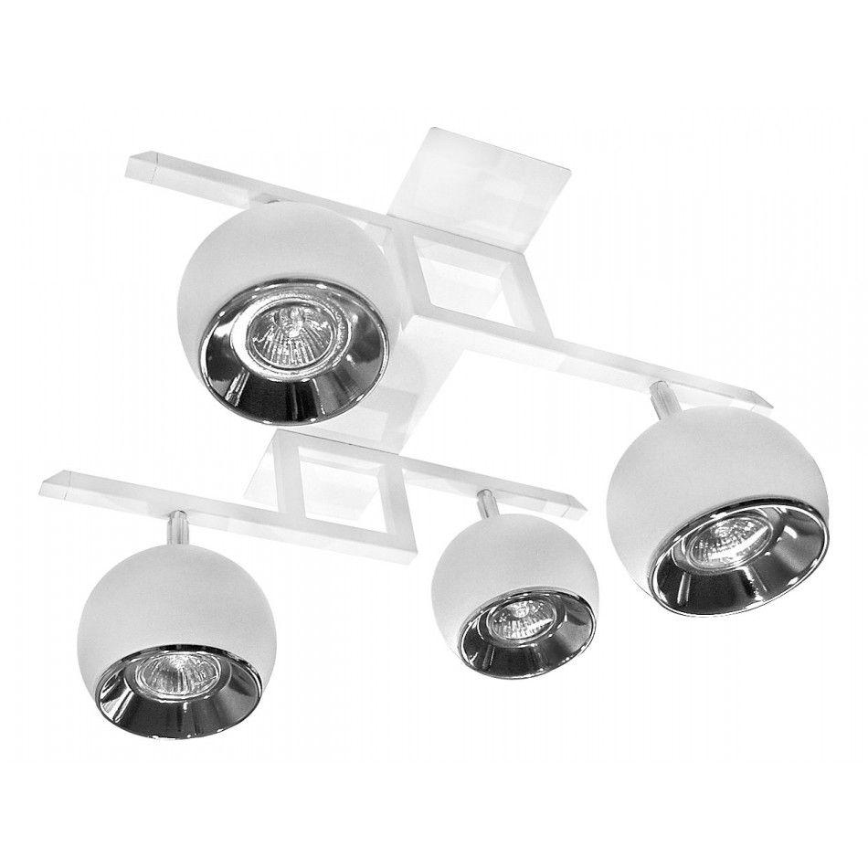 biała lampa sufitowa z 4 ruchomymi reflektorami