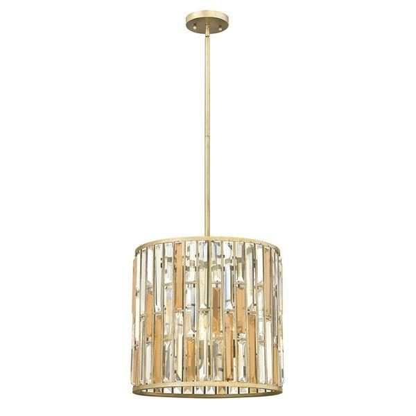 Lampa wisząca z kryształkami - Opal 2 - złota