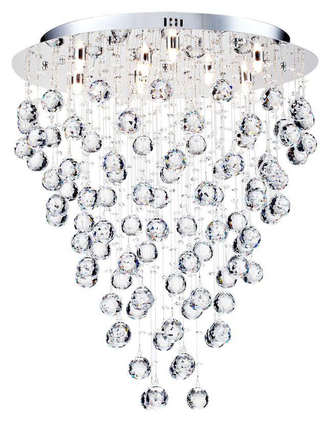 lampa sufitowa z wiszącymi małymi kulkami z kryształów srebrna