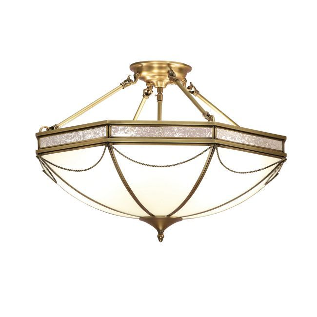 Lampa sufitowa Russell - Interiors - mleczne szkło, mosiądz