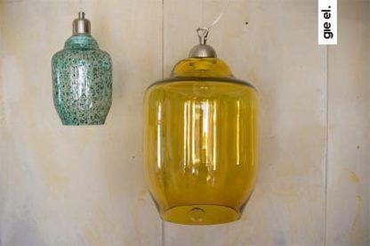 lampa wisząca ze szkła miodowego, styl industrialny i nowoczesny