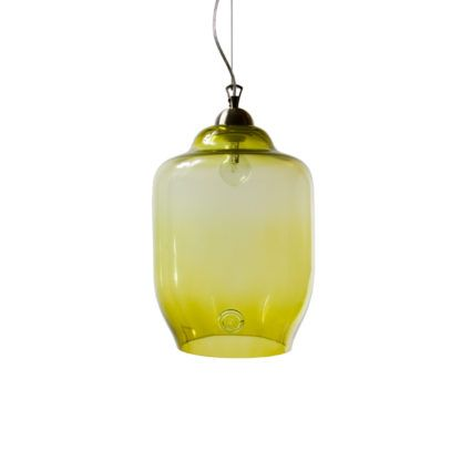 Lampa wisząca szklana duża - Gie El Home - oliwkowa
