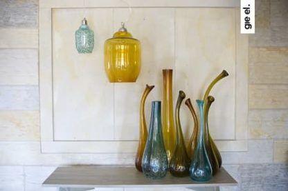 lampa wisząca ze szkła w odcieniu oliwkowym, styl nowoczesny