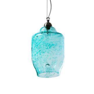 Lampa wisząca szklana duża - Gie El Home - turkusowa