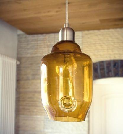 mała lampa wisząca z miodowego szkła